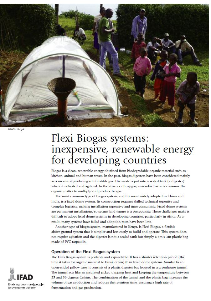 Flexi Biogas systems: inexpensive, renewable energy for